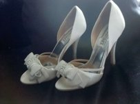 Babette Size 8 White Wedding Evening Shoes High Heel Bling