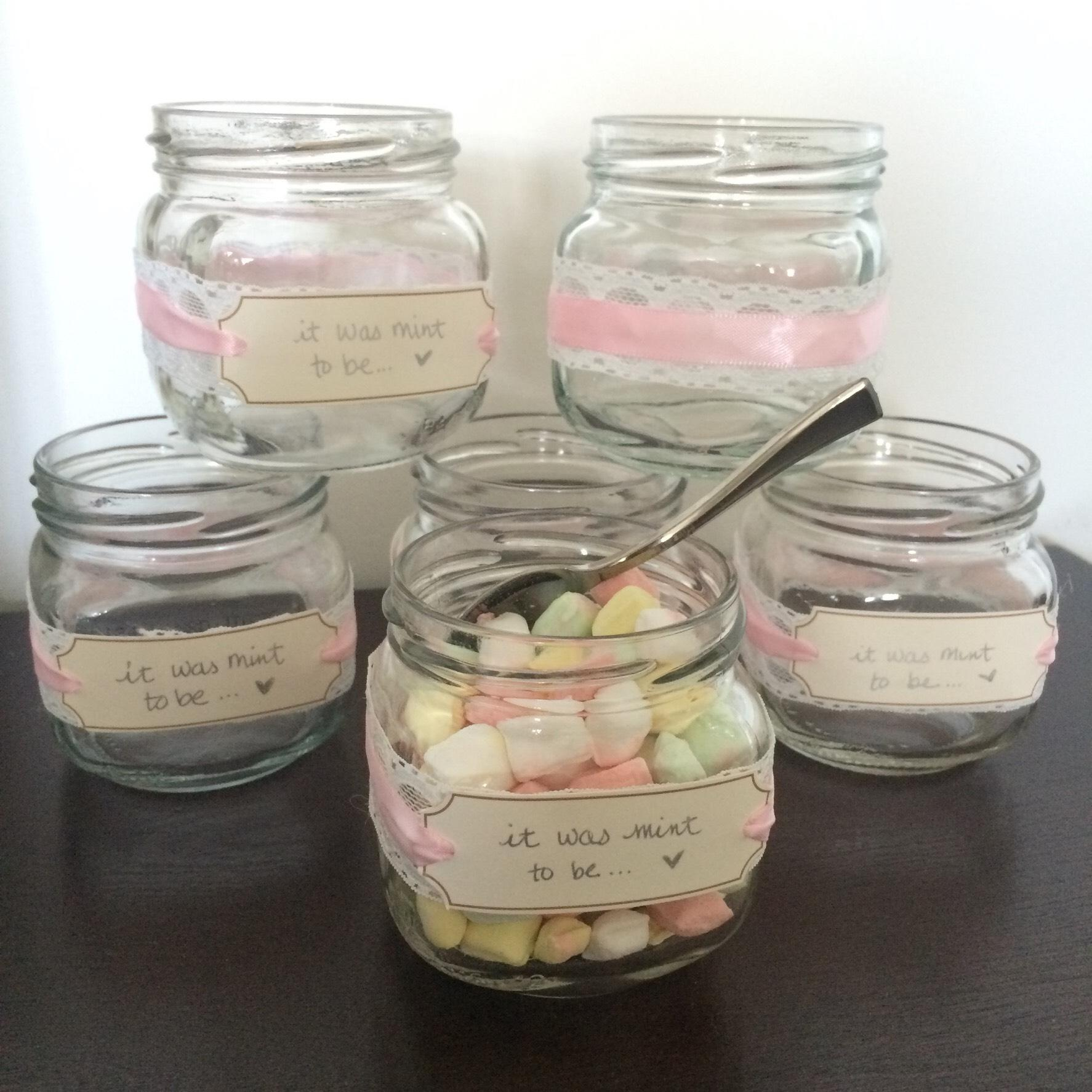 "DIY crafted Mint Jars, tag says ""it was mint to be"". 20 pink/white lace jars, and I also have 12 navy blue/pink ribbon jars. Would like them all to go, but message me if you want smaller quanty. (Message for besf offer)."