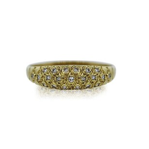 $$$ 18k Yellow Gold Diamond Dome Ring