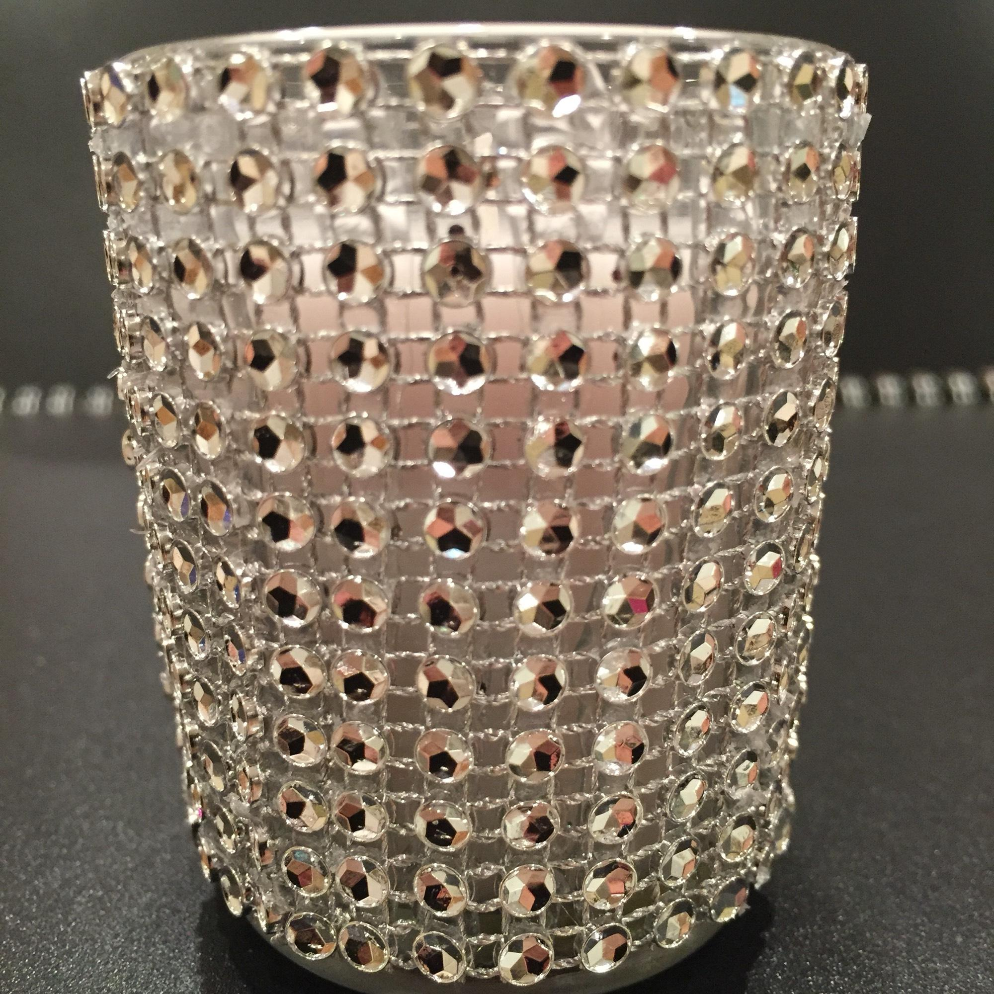 15 Votive Candle Glass Vases Fully Covered Silver Bling Faux Rhinestone Wedding - Shower - Quincenaera - Birthday Party Decoration