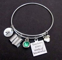 Teachers Plant Seeds Of Knowledge Bangle Bracelet With Apple Charm