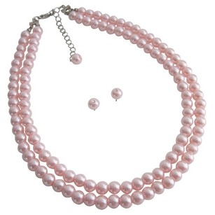 Adorable Double Stranded Pink Pearl Necklace With Stud Earrings