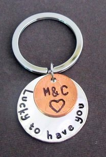 Lucky To Have You Handstamped Disc W/penny Coin Keychain Couples Key