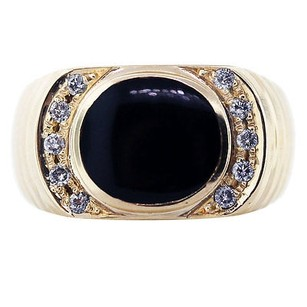 14k Yellow Gold Black Onyx Bufftop Mens Ring With Diamonds