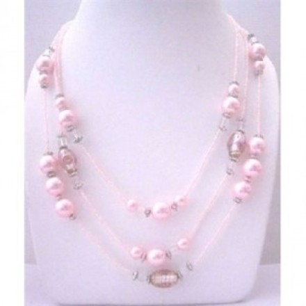 Pink Multi Beaded 3 Strands Necklace Pearls Millefiori Painted Jewelry Set
