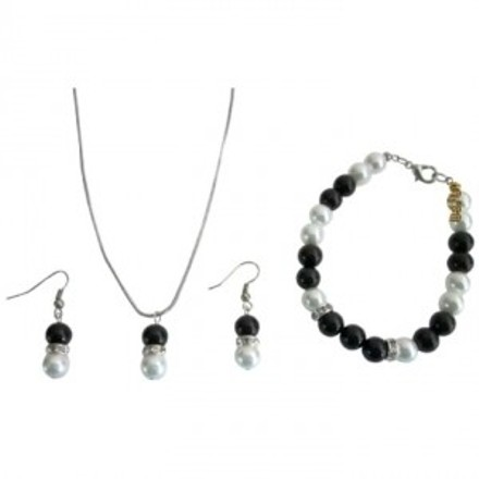 Black and Grey In White Pearls Necklace Earrings Bracelet Jewelry Set