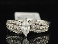 Ladies 14k White Gold Marquise Solitaire Diamond Engagement Ring Bridal Set