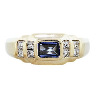 14k Yellow Gold Tanzanite And Diamond Mens Ring