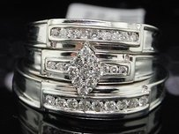 Ladies Mens Bridal Engagement Band Diamond Trio Set