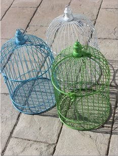 10 Assorted Large Birdcages White Lime Green Aqua Blue