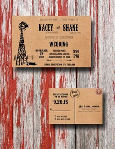 100 Rustic Windmill Country Wedding Invitations - Wedding Invitation Set