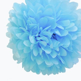 12 Baby Blue Tissue Pom Poms Flower Kissing Balls Pomanders 14