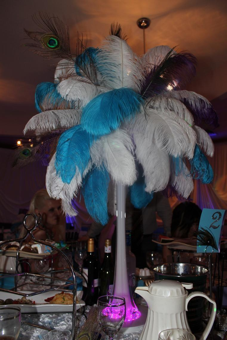 wedding ideas using peacock feathers white 12 ostrich amp peacock feather centerpiece tradesy 28339