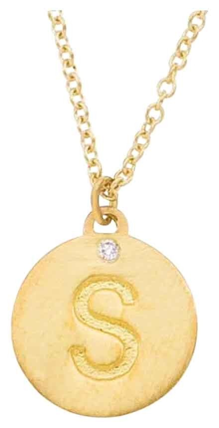 14k Gold Yellow Initial S Necklace