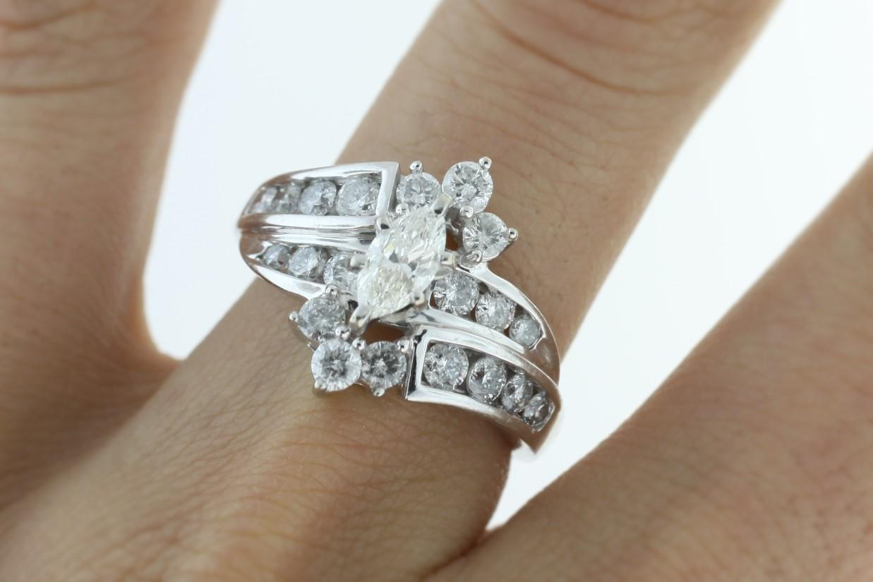 14k White Gold 2 Cttw Marquise Diamond Engagement Ring ...
