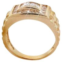 18k Gold over 925 Silver CZ Designer Men's Ring