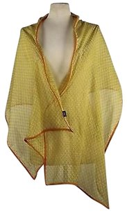 2 Chic Chic Womens Yellow Printed Scarf One 68 X 22 100 Cotton