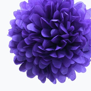 24 Royal Purple Tissue Pom Pom Flower Balls Kissing Balls Pomanders 14
