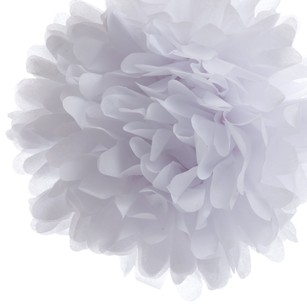 24 White Tissue Pom Poms Flower Kissing Balls Pomanders 14