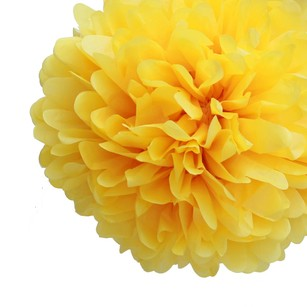 24 Yellow Tissue Pom Pom Flower Balls Kissing Balls Pomanders 14