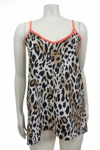 2b bebe Gray Black Leo Leopard Print Low Cut Back Top Brown