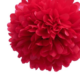 36 Red Tissue Pom Pom Flower Balls Kissing Balls Pomanders 14