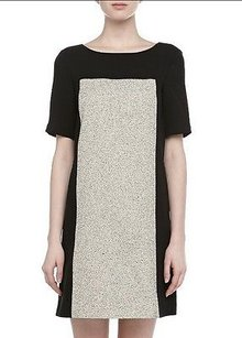 4.collective short dress Multi-Color Blackivory Textured Tweed Panel Shift 120748f on Tradesy