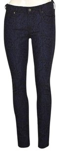 7 For All Mankind Womens Blue Black Casual Trouser Textured Pants