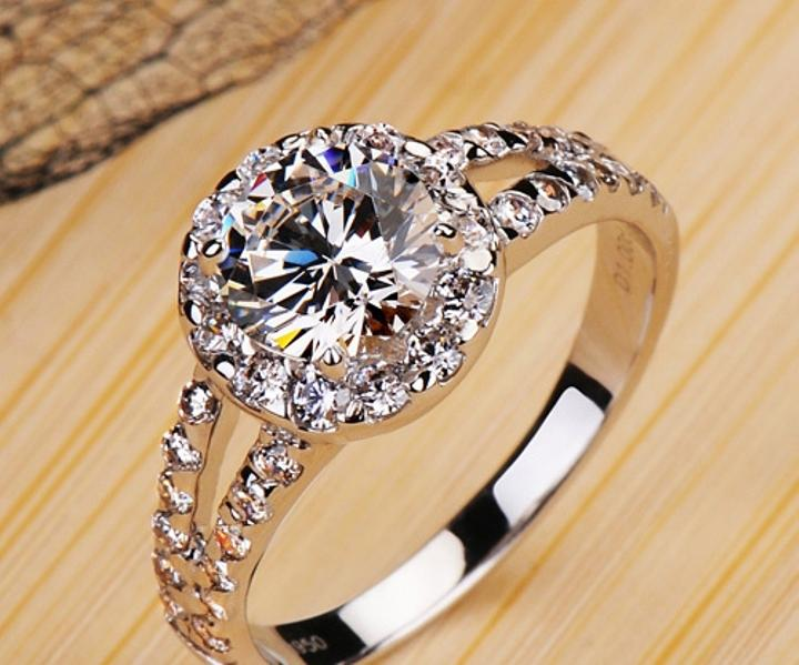 Vvs1 Pt950 Size 5 Engagement Ring 2ct Halo Round Double Band Pave Bridal Wedd