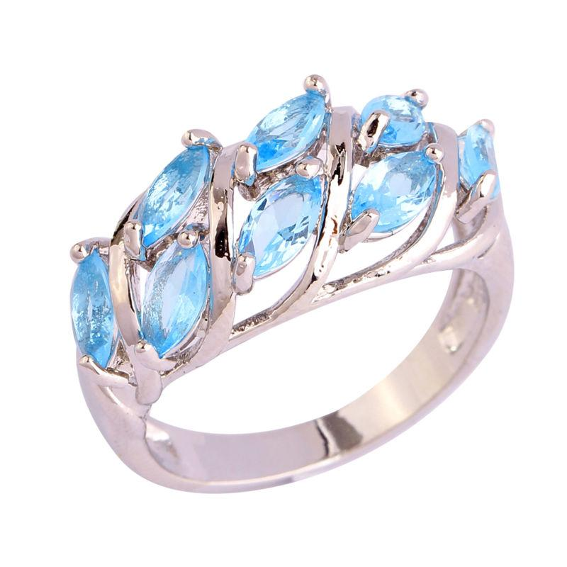 unique blue topaz leaves ring size 7 on tradesy