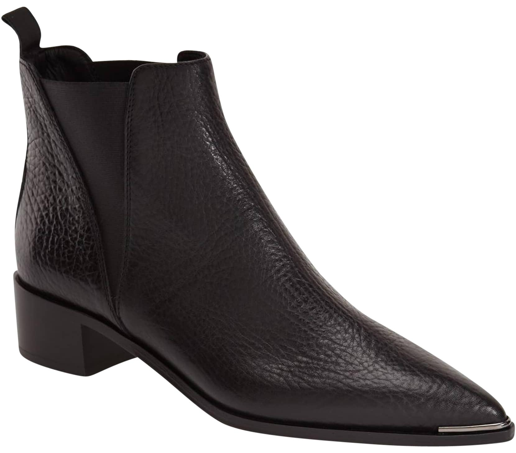 Acne Studios Black Jensen Leather Ankle Pointy 37 Boots/Booties Size US 7 Regular (M, B)