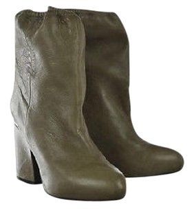 Acne Studios Acne Womens Distressed Mid Calf Leather Block Heels Brown Boots