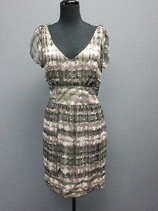 ADAM short dress purple/ivory/olive green Lippes Olive Green Ivory Silk V Neck Sleeveless Sm10781 on Tradesy