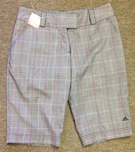 adidas Adidas Multicolor Plaid Polyester Pocket Flat Front Golf Shorts X407
