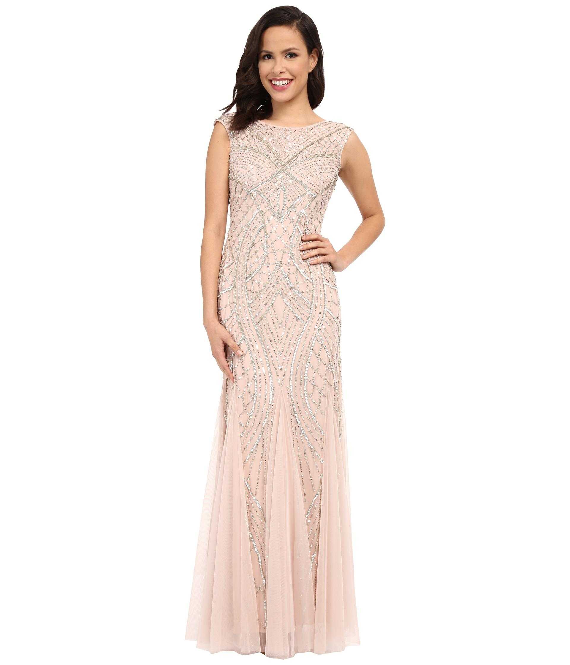 Pay Shell Credit Card >> Adrianna Papell Blush Pink Long Beaded Gown With Godets Dress - 35% Off Retail