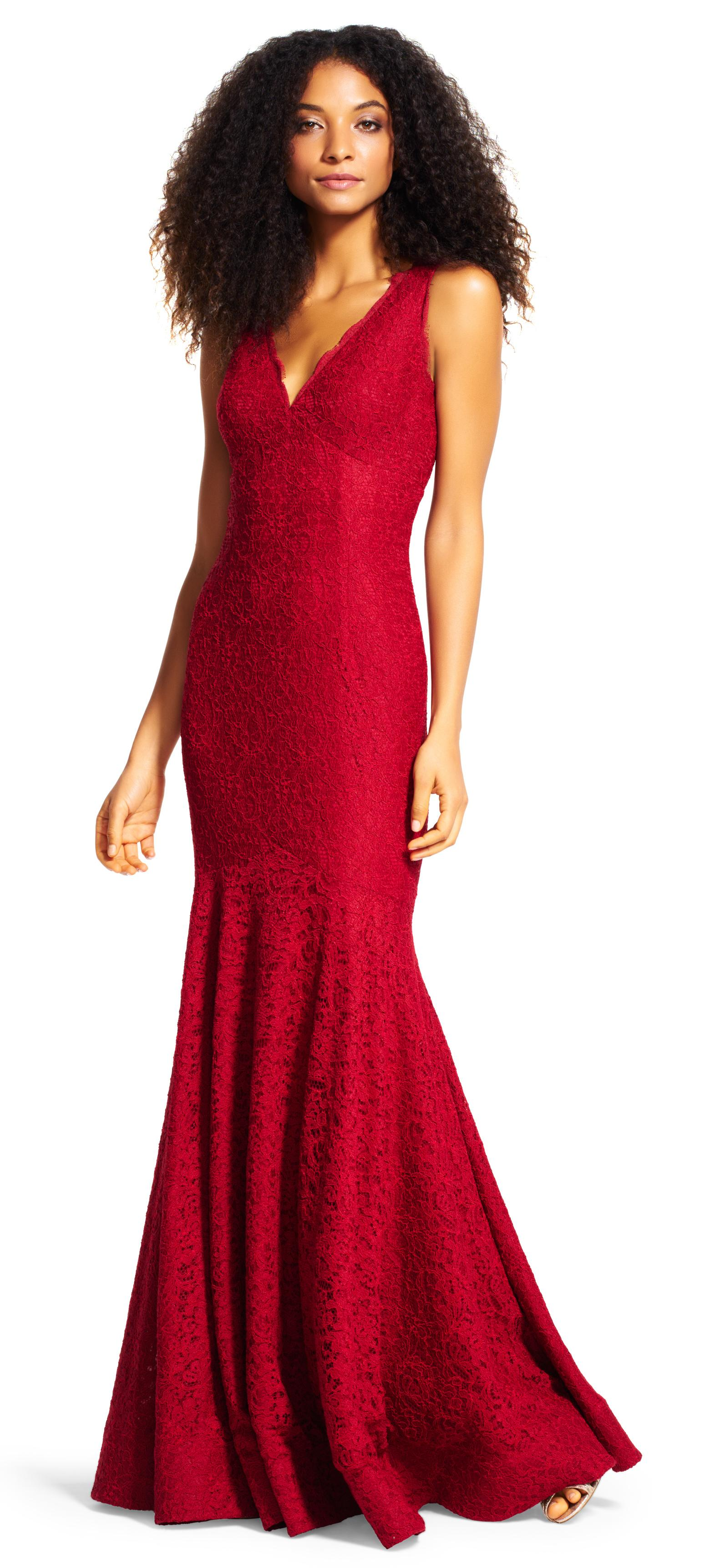 Adrianna Papell Crimson Red Sleeveless V-neck Lace Trumpet Gown Dress