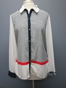 Adrianna Papell Cream Navy Blue Long Sleeves Button Up Sma 2539 Top cream/navy blue/red