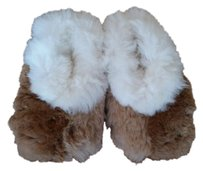 Agroinca PPX Alpaca Fur Slippers Made In Peru White and Light Brown Flats