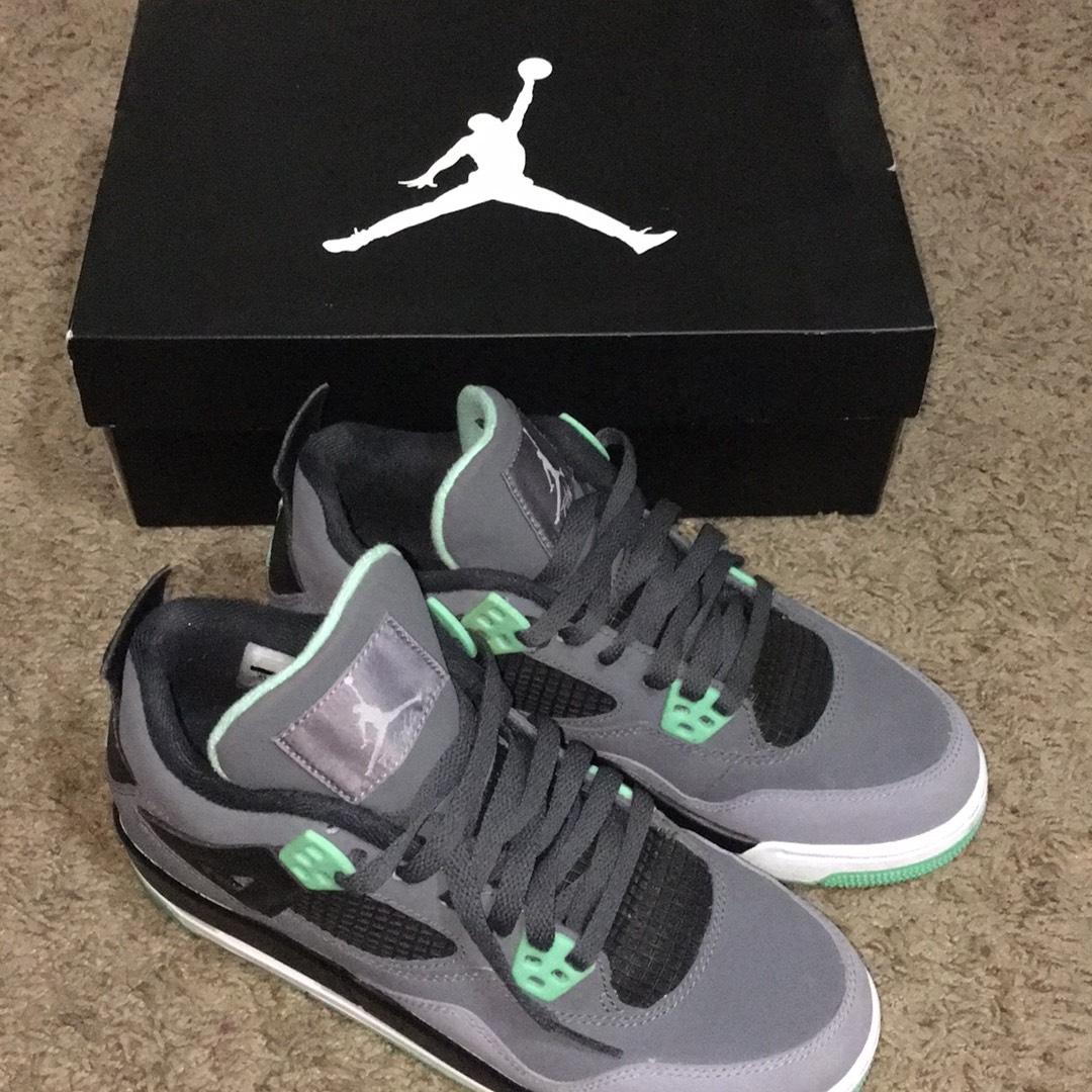 best service ce46c 21d07 ... where to buy air jordan black grey mint green retro 4s glow sneakers  size us 7.5
