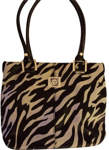 AK Anne Klein Gold Logo Tote in Black and beige zebra print, patent leather straps and bottom