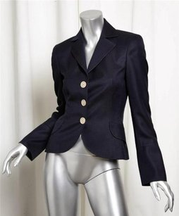 Akris Womens Navy Wool Fitted Blue Jacket