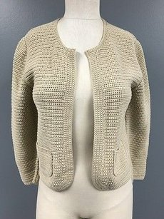 Akris Light Cotton Chunky Open Front Cardigan With Pockets Sma8329 Sweater