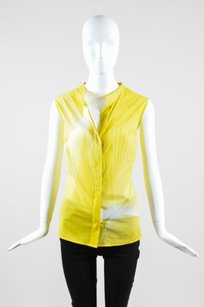 Akris White Cotton Top Yellow