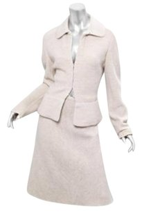 ALAÏA Alaia Nude Virgin Wool Knit Jacketa-line Skirt Suit Set Quilted Accents