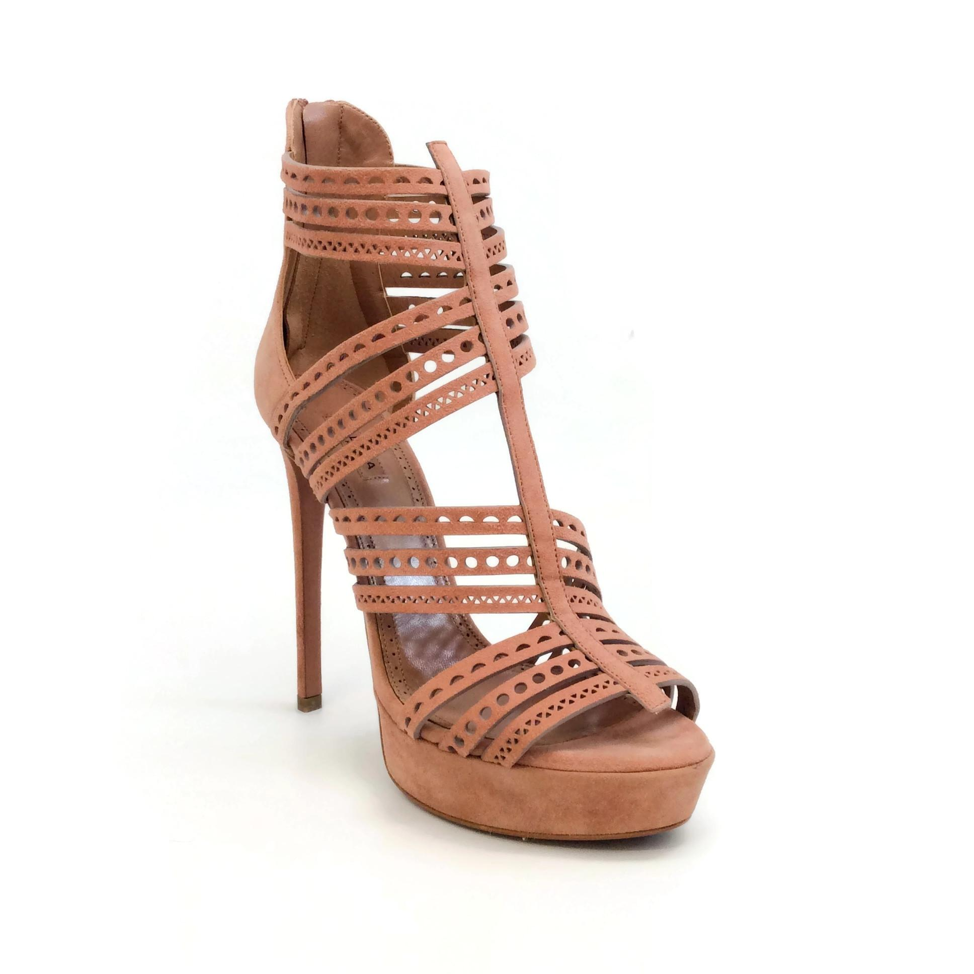 ALAÏA Blush Suede Lasercut Cage Pumps Size EU 38.5 (Approx. US 8.5) Regular (M, B)