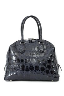 ALAÏA Crocodile Leather Patent Embossed Tote in Navy