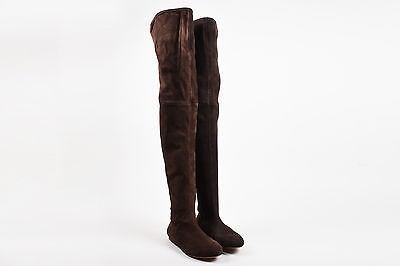 ALAÏA Alaia Chocolate Brown Suede Flat Thigh High Boots 36.5 ...