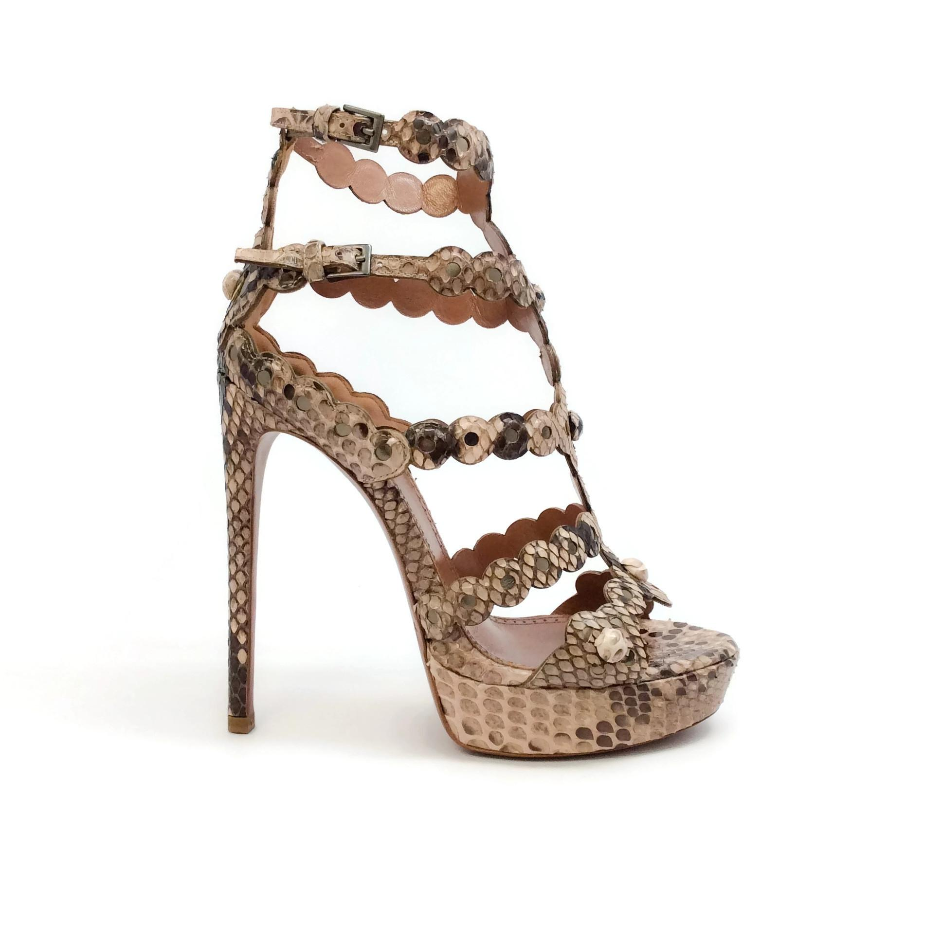 a03a657caa3 US 7.5 ALAÏA Tan   Brown Python Sandals Sandals Sandals Size EU 37.5 (Approx.  US 7.5 ...