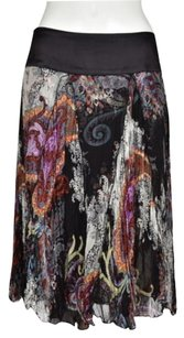 Alberto Makali Womens Printed A Line Below Knee Silk Casual Skirt Black