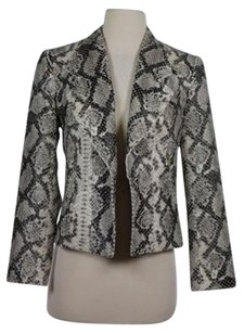 Alberto Makali Womens Beige Animal Print Long Sleeve Basic Black Jacket